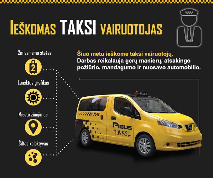 Taksi vairuotojo darbas, laisvas grafikas, taxi darbas